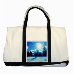 Ski Holidays Landscape Blue Two Tone Tote Bag