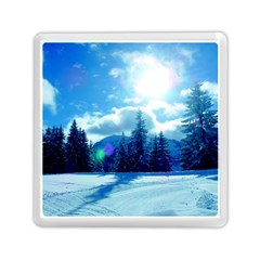 Ski Holidays Landscape Blue Memory Card Reader (square)