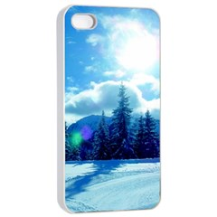 Ski Holidays Landscape Blue Apple Iphone 4/4s Seamless Case (white)