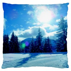 Ski Holidays Landscape Blue Large Cushion Case (one Side)