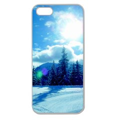 Ski Holidays Landscape Blue Apple Seamless Iphone 5 Case (clear)
