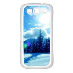 Ski Holidays Landscape Blue Samsung Galaxy S3 Back Case (white)