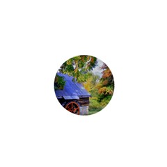 Landscape Blue Shed Scenery Wood 1  Mini Magnets by BangZart