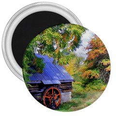 Landscape Blue Shed Scenery Wood 3  Magnets