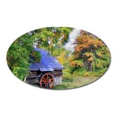 Landscape Blue Shed Scenery Wood Oval Magnet