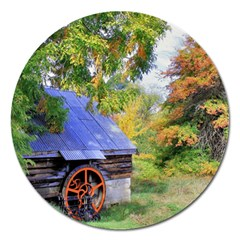 Landscape Blue Shed Scenery Wood Magnet 5  (round) by BangZart