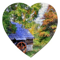 Landscape Blue Shed Scenery Wood Jigsaw Puzzle (heart) by BangZart