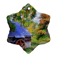Landscape Blue Shed Scenery Wood Ornament (snowflake) by BangZart