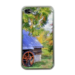 Landscape Blue Shed Scenery Wood Apple Iphone 4 Case (clear)