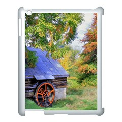 Landscape Blue Shed Scenery Wood Apple Ipad 3/4 Case (white)