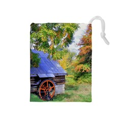 Landscape Blue Shed Scenery Wood Drawstring Pouches (medium)
