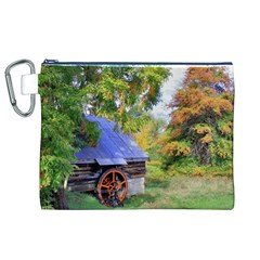Landscape Blue Shed Scenery Wood Canvas Cosmetic Bag (xl)