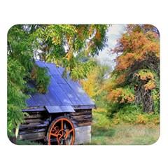 Landscape Blue Shed Scenery Wood Double Sided Flano Blanket (large)