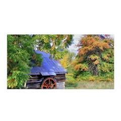 Landscape Blue Shed Scenery Wood Satin Wrap