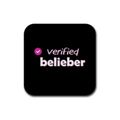 Verified Belieber Rubber Square Coaster (4 Pack)  by Valentinaart