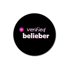 Verified Belieber Rubber Round Coaster (4 Pack)  by Valentinaart