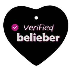 Verified Belieber Heart Ornament (two Sides) by Valentinaart