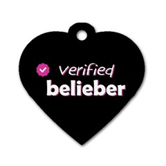 Verified Belieber Dog Tag Heart (two Sides) by Valentinaart