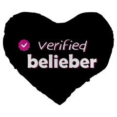 Verified Belieber Large 19  Premium Heart Shape Cushions by Valentinaart