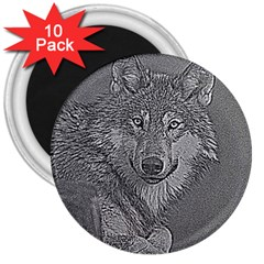 Wolf Forest Animals 3  Magnets (10 Pack)