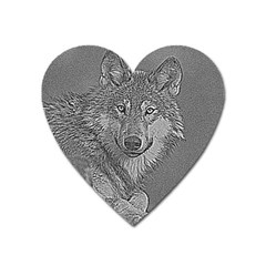 Wolf Forest Animals Heart Magnet