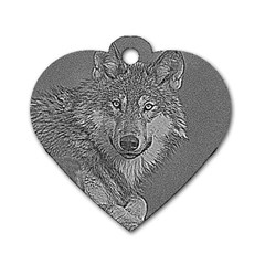 Wolf Forest Animals Dog Tag Heart (two Sides)