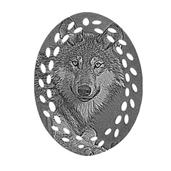 Wolf Forest Animals Oval Filigree Ornament (two Sides)