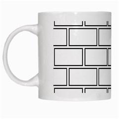 Wall Pattern Rectangle Brick White Mugs