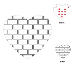 Wall Pattern Rectangle Brick Playing Cards (heart)