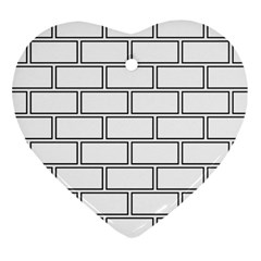 Wall Pattern Rectangle Brick Heart Ornament (two Sides)