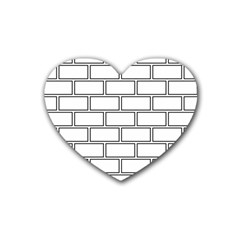 Wall Pattern Rectangle Brick Rubber Coaster (heart)