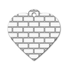 Wall Pattern Rectangle Brick Dog Tag Heart (two Sides)