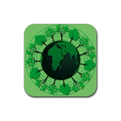 Earth Forest Forestry Lush Green Rubber Coaster (square)