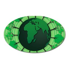 Earth Forest Forestry Lush Green Oval Magnet by BangZart