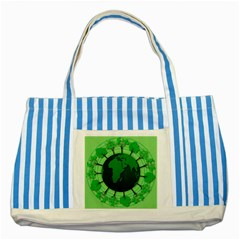Earth Forest Forestry Lush Green Striped Blue Tote Bag by BangZart