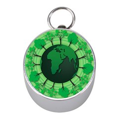 Earth Forest Forestry Lush Green Mini Silver Compasses
