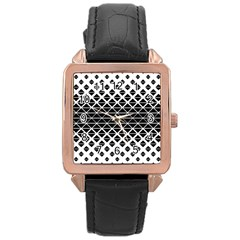 Triangle Pattern Background Rose Gold Leather Watch