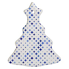 Star Curved Background Blue Christmas Tree Ornament (two Sides)