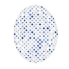 Star Curved Background Blue Oval Filigree Ornament (two Sides)