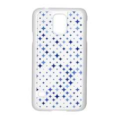 Star Curved Background Blue Samsung Galaxy S5 Case (white)