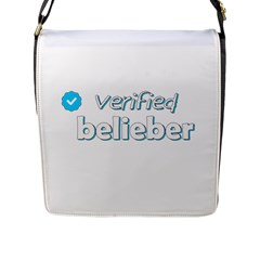 Verified Belieber Flap Messenger Bag (l)  by Valentinaart