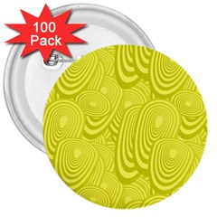 Yellow Oval Ellipse Egg Elliptical 3  Buttons (100 Pack)