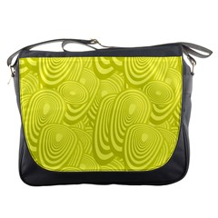Yellow Oval Ellipse Egg Elliptical Messenger Bags by BangZart