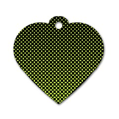 Pattern Halftone Background Dot Dog Tag Heart (one Side)