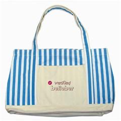 Verified Belieber Striped Blue Tote Bag by Valentinaart
