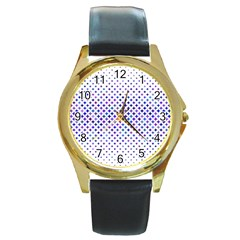 Star Curved Background Geometric Round Gold Metal Watch