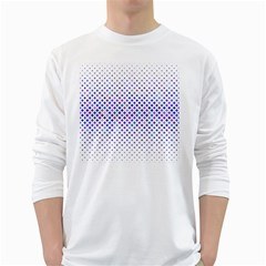 Star Curved Background Geometric White Long Sleeve T Shirts