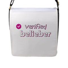 Verified Belieber Flap Messenger Bag (l)  by Valentinaart
