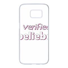 Verified Belieber Samsung Galaxy S7 Edge White Seamless Case by Valentinaart