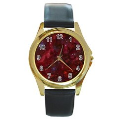 Abstract Fantasy Color Colorful Round Gold Metal Watch